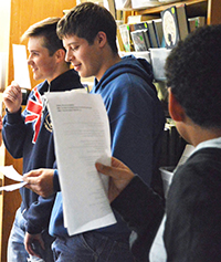 A team of eighth-graders collaborates on a Poe parody about an annoying crowing rooster