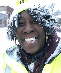 A snowstorm couldn't stop Eason from her crossing guard duties at Martin Luther King Jr. Leadership Academy