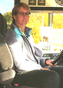 Wyoming Public Schools bus driver Diane Kallemeyn is a substitute currently covering a regular route because of the bus driver shortage