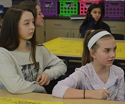 From left, Sophia Becker and Abbie Westers participate in talking about books