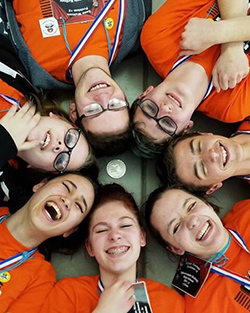 Thornapple Kellogg High School Odyssey team, from top left: Zane Walters, Wyatt Crampton, Jake Maring, Clair Jansma, Grace Densham, Anna Miller, and Emma Chapman