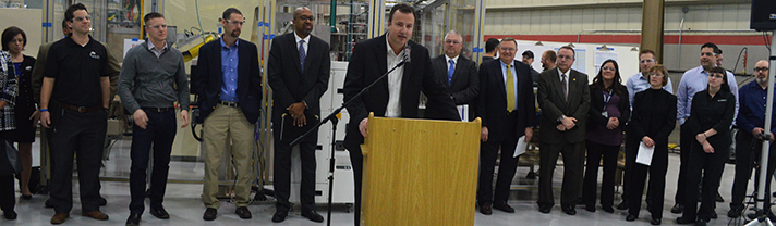 Artiflex CEO Erin Hoffman talks about the need for skilled workers during Monday's press conference announcing Launch U