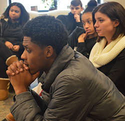 Junior Tony Joliffi asks officers about experiences making quick judgment calls