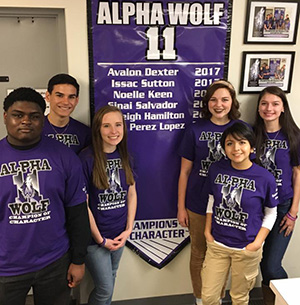 Six students were honored as Alpha Wolf 11 Champions of Character