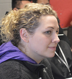 East Kentwood Freshman Campus teacher Katie Koole-McCurdy attends geometry with freshman Will Chatlosh (in background)