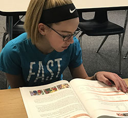 Sixth-grader Madison Maas said reading strategies she has learned are helping her meet her goals, like reading a book a month and getting all A's and B's
