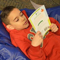 Uriel Diaz finds a cozy spot to read