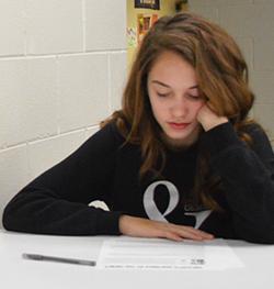 Freshman Alexandria Demond studies in the new space