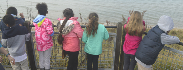 """""""It's beautiful!"""" one student exclaimed as the group gazed out at Lake Michigan"""