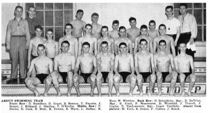 Thomas Payette, front row fourth from left, and the EGR swim team, of which he was captain (photo courtesy EGRPS)