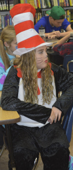 """Cora Blatchford, in Halloween garb, says the project brings students into """"one giant connection"""""""