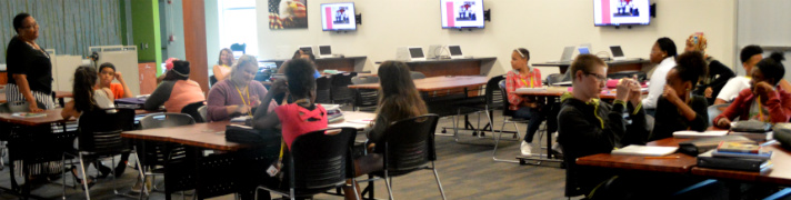 Students can work in groups in a comfortable living-room type setting