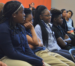 Students listen to stories and advice from a U.S. president's son