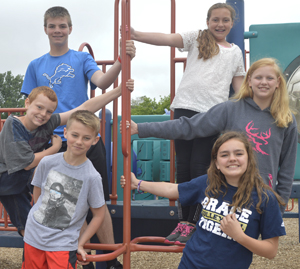 Good and ready to move on from elementary to middle school are (clockwise from lower left) Carter Bayink, Justin Kennedy, Blake Scheer, Lilly Briggs, Alyssa Detweiler and Quinn Priolo