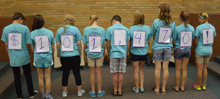 Duncan Lake Middle School Student Council Leadership Team members show the total raised for Van Andel Institute in eight years