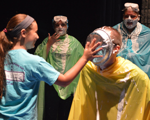Seventh-grade teacher Orion English gets a pie in the face