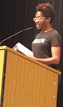 Jacqueline Woodson reads to Godwin Heights students