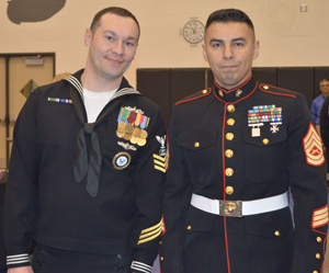 Marine Corps recruiters Arthur Hoskins and Gunny Nunez shared information on the 85 skilled trades Marines can specialize in