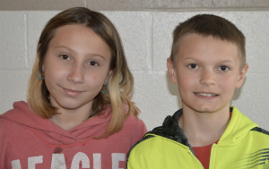 Fifth-graders Cadence Nique (left) and Nicholas VanHouten were inspired by Cooper to follow their own passions for art