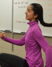 """Cebrina Kader gets her heart pumping to see if she can hear it, as in """"The Tell-Tale Heart"""""""