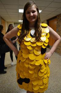 Creativity reigned with Sara Prodanovic's dress made of tin can lids