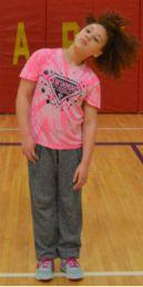 Fifth-grader Liza Lamar cools down
