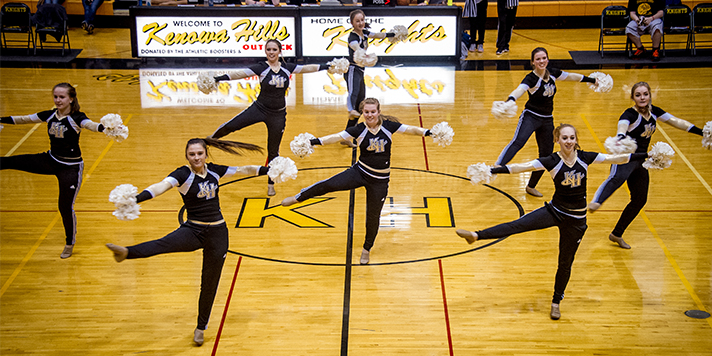 The Knights' Varsity cheerleading team provided some of the between games entertainment