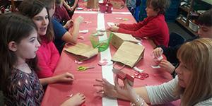 Doing Danish crafts are, clockwise from bottom left, Grace Bergeron, Ellie Gardner, Ryder Cliff, Jack Bartish and parent helper Amy Vancil