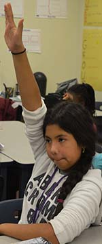 Sixth-grader Roselynn Juarez-Gonzalez contributes to the discussion on respect