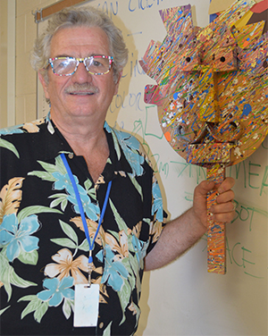Jerry Berta smiles in his Bowen Elementary School classroom