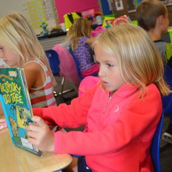 Finley Terpstra reads a Berenstain Bears book