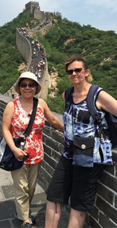 Teachers Le Tran and Adrienne DeMilner enjoyed learning about Chinese art and architecture, like the Great Wall of China