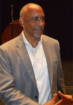 Pedro Noguera shakes hands with educators during the Diversity Kick-off Event