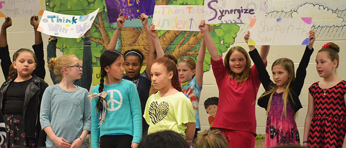 Oriole Park Elementary students present the Seven Habits of Leadership