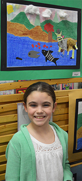 """While presenting her artwork, third-grader Abby Kramer said """"I am proactive and have a plan"""""""