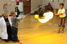 Crestwood Middle School teacher Wendi Vogel shows how chemistry is explosive, loud and fun
