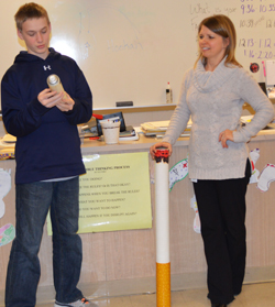 Comstock Park seventh-grader Colby Brown names a toxic ingredients found in cigarettes at a LifeSkills class led by Kent County health educator Tracy Malinowski