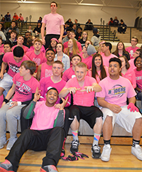 Students gather before a girl's varsity basketball game