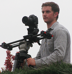 Nathan Seeber spent part of his spring break filming a video for the school's bond proposal (cr. Julie Makarewicz of the Middleville Sun and News)
