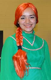 """Pamela Varela, who plays young Fiona in """"Shrek the Musical,"""" entertained children at Rebel Outreach"""