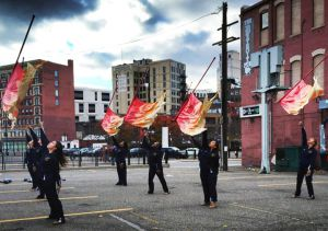 Color guard practice before going on the Ford Field in Detroit