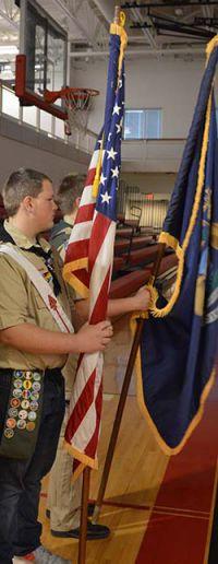 Scouts prepare Colors for ceremony