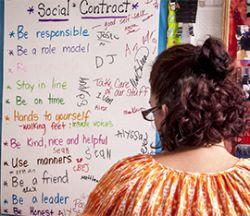 Sarah Bolema has her students sign a classroom social contract