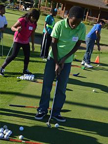 Fifth-grader Chris Matthews takes his turn