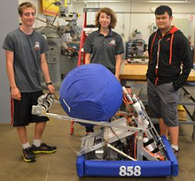 Hunter Noorman, Jessy Monroe and Tan Le were on an eight-member team that built a robot last winter