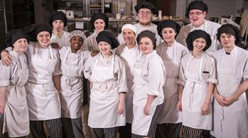 Sarah Waller and students in the Tech Center Hospitality/Culinary program