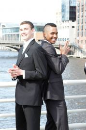 Gloire and his friend Cody looking sharp in downtown Grand Rapids