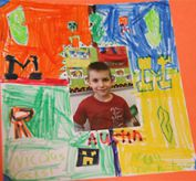 The class made a colorful book about themselves
