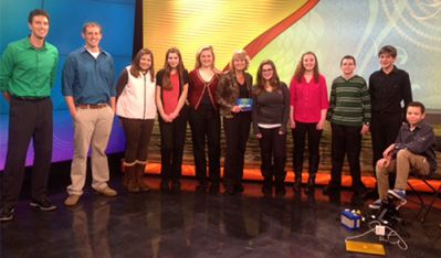Members of the Byron Center West Middle School Eco Challenge team tells about their award-winning projects to WOTV TV Channel 4's Maranda