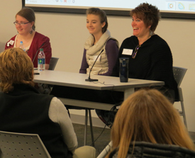 Nancy Bykerk, parent, and two students,  Sarah Ress and Megan Schwartz, spoke to the parents and service providers about their experience in the Connections Program at South Christian High School